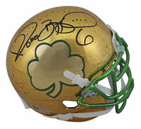 Notre Dame Jerome Bettis Signed Raindrop Chrome Shamrock Mini Helmet BAS Witness