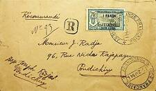 FRANCE INDIA 1941 REGD COVER TO PONDICHERRY WITH 1 FANON