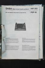 SABA PSP 45 ORIGINALE MANUALE DI SERVIZIO/MANUALE/SCHEMA ELETTRICO