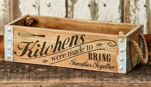 Country Kitchen Collection Wood Crate 2 Rope Handles Farmhouse Box Storage