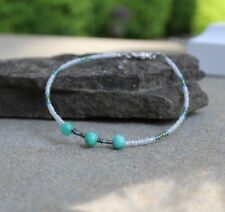 Quartzite turquoise beads 9 3/4 inches Seed Bead Anklet Ankle Bracelet with