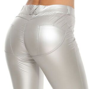 Womens Ladies High Waist PUSH UP Faux Leather Leggings Wet Look Stretch Pants