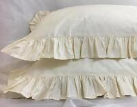 Pack of 3 Edge Ruffle Pillow Sham 650 TC Cotton Solid IVORY Square Other Size