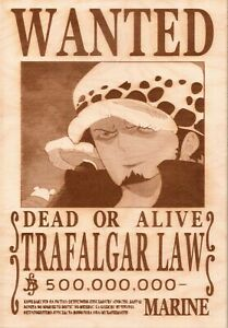 One Piece - Law Wooden Wanted Poster
