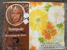 VTG Dan River TWIN FLAT Sheet Yellow Orange Flowers Pattern No-Iron Percale USA