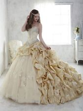 New A-line Champagne/White/Ivory Beads Chapel Wedding Dress Bridal Formal Gown