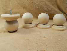 Hard Wood Wooden Unfinished Bun Bunn Feet W/Screw Furniture Stool Legs Lot  Of 4