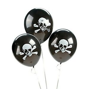 (3) SKULL AND CROSS BONE LATEX BALLOONS BALLOON PIRATE PARTY DECORATION