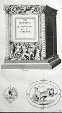 Statua Altare Bacchus Mitologia Montfaucon Antico - Incisione XVIII