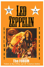 Heavy Metal:  Led Zeppelin at The Forum Los Angeles Concert  Poster 1975