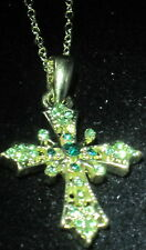 GREEN CRYSTAL CROSS pendant NECKLACE WITH GOLD TONE ACCENTS NEW religious