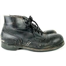 10 W Vintage 50s Mens Black Leather Steel Toe Motorcycle Distressed Ankle Boots