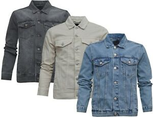 Mens Denim Jacket 100% Cotton Button Up Classic Jean Casual Ex Store XS - 5XL