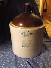Western Stoneware 2 Gallon Crock Maple Leaf Small Chip Along Base Glaze Crazing