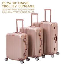 3 Piece Rose Gold Trolley Case Luggage Set Travel Bag Suitcase with TSA Lock