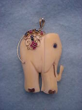 Vintage 14KT. Ruby & Sapphire Elephant Necklace