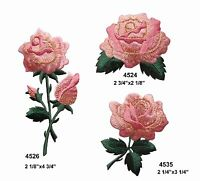Lot 3Pcs Pink Rose Flower Embroidery Iron On Applique Patch