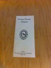 Mount Vernon Va 1957 Visitors Guide Map Brochure *