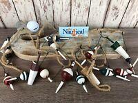 9' Wood Fishing Bobber Floats On String - Buoy Fish Net Garland - Nautical Decor