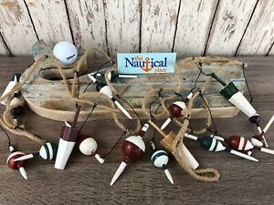 9' Wood Fishing Bobber Floats On String - Buoy Fish Net Garland - Nautical Decor