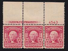 US 319Fi 2c Washington Mint Top Plate # Strip of 3 OG NH w/ PSAG Cert SCV $525+