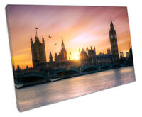 city of London The Houses of Parliament Big Ben Thames Print on Canvas 30x20 Inc