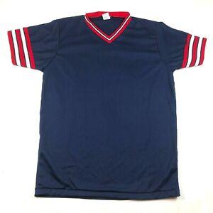 Vintage BIKE Athletic Mens L Blue Jersey V Neck Red White Sleeves Made in USA