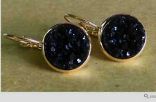 GOLD PLATED SPARKLING DRUZY RESIN BLACK ROUND LEVER BACK EARRINGS 12MM