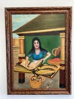 VTG. Primitive Folk Art Painting Woman Cleaning Fish