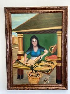 VTG. Primitive Folk Art Painting Woman Cleaning Fish
