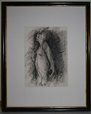 Original Signed Ink Drawing By Unknown Artist 'Standing Female Figure' Small