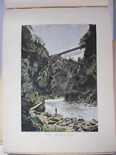 AUTRICHE-TYROL : Gravure 19° in folio couleur / TARVIS:PONT SUR LA GAILITZ