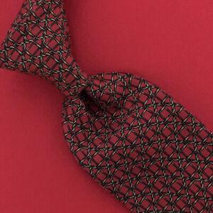 Mens Hermes Paris Tie Fence Ropes Indian Red Black Necktie Silk Rare VTG