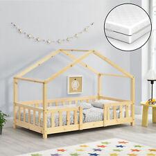 Kinderbett + Matratze mit Rausfallschutz 80x160cm Haus Holz Natur Hausbett Bett