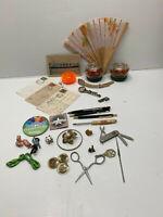 Junk Drawer Mixed lot  of ODD ITEMS, Postcard,toys,pin pens,fan,Pens