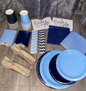140 piece tableware kit for 16 guests Baby blue And Navy Blue, cups, forks
