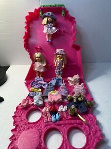 Lot of 3 Barbie Kelly Dolls, Case, Clothes, Shoes