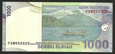 Indonesia 1000 Rupiah - Solid Fancy Number 555555 - 2000 Issue - Look !!
