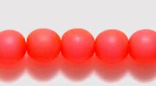 6mm Druk, Matte Op Neon Salmon Pink, Czech Glass 50 beads, coral orange