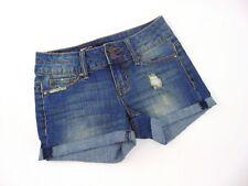 Rampage Booty Lifter Cuff Blue Jean Distressed Denim Shorts Women Juniors Size 1