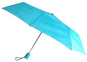 "Totes Automatic Blue Teal Umbrella 42"" Large Auto Open Travel Compact Mini Folds"