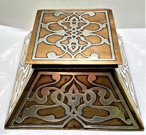 Heintz Art Metal Bronze & Sterling Silver Overlay Art Nouveau Inkwell.