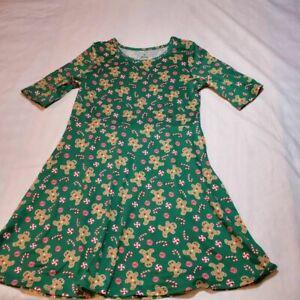Girls A Line Dress Green Red Gingerbread Man Candy Short Sleeve Stretch M 7-8