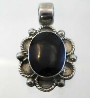 Vintage Taxco Mexico Sterling Silver Black Onyx Pendant Enhancer 925 Oval Cab
