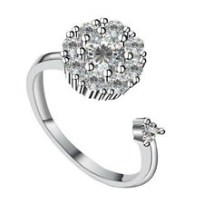 Silver Chic Ring Crystal Zircon Rings Open Adjustable Women Ring Spinning Gift