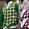 Mens Dandy Modern V-neck Argyle Cardigan Sweater Knit Vest Jumper Jacket Top S/M