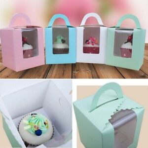 10Pcs Single Cupcake / Muffin / Fairy Cake Boxes With Clear Window Gifts Box
