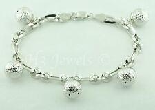 18k white gold charm Ball bracelet bracelet Italy 11.0 grams  h3jewels #4635