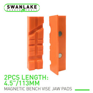"""Pair Of Magnetic Soft Pad Jaws Rubber For Metal Vise 4.5""""/6"""" Long Pad Bench Vice"""