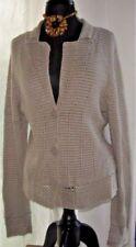 Talbots Womens Cardigan Crochet Button Sweater Coat Silk NEW Beige Size XL